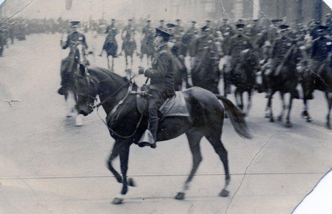 Police Lieutenant David Bennett on horseback.